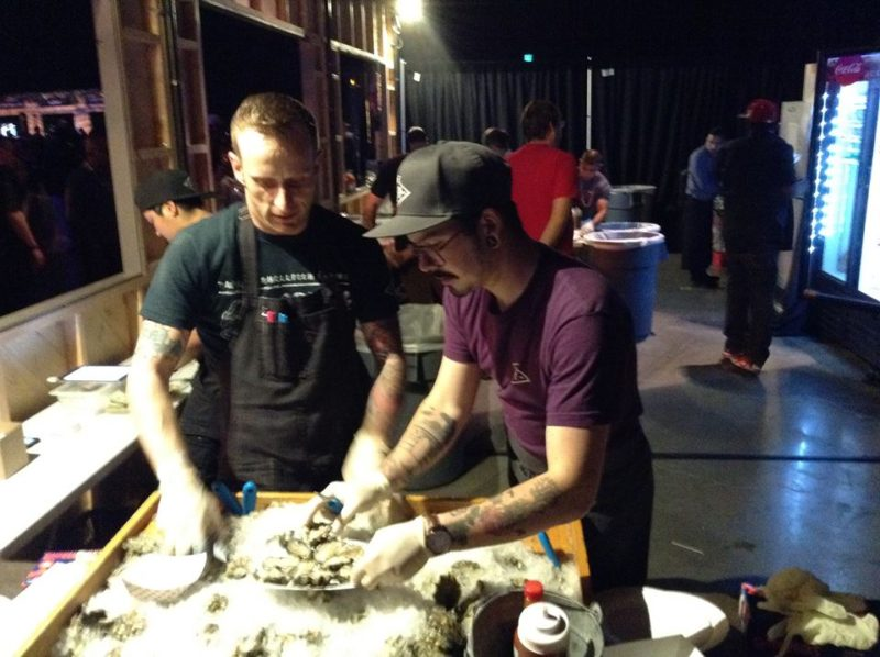 Oyster shuckers from Taylor Shellfish Farms