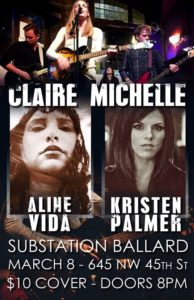 Claire Michelle at the Substation (with Aline Vida, Kristen Palmer) @ Substation | Seattle | Washington | United States