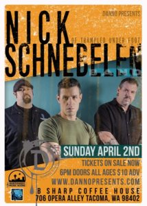 Nick Schnebelen to play B Sharp Coffee House in Tacoma April 2 @ B Sharp Coffee House | Tacoma | Washington | United States