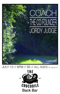 COACH @ THE BACK BAR The Co-Founder, Jordy Judge ON JULY 13 @ The Crocodile | Seattle | Washington | United States