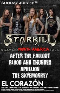 After The Fallout, Blood and Thunder, Aphelion, The SkyeMonkey On July 16 @ El Corazon | Seattle | Washington | United States