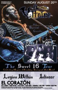 Bella Morte, LEGION WITHIN, Intisaar On Aug 20 @ El Corazon | Seattle | Washington | United States