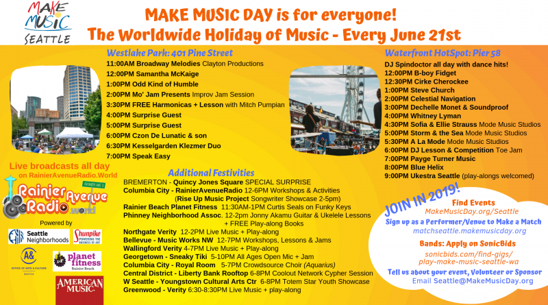 Make Music Day takes over Seattle on Friday, June 21st